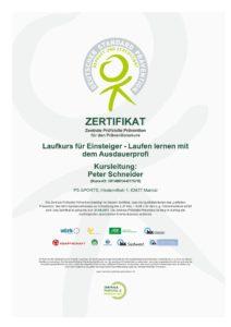 Zertifikat Laufkurs für Einsteiger Maintal Hanau Frankfurt